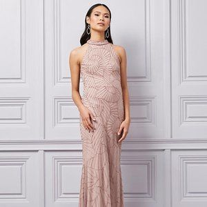 Sequin & Beaded Chiffon Mock Neck Gown